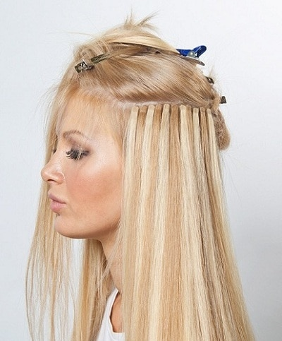 блондинка с наращиванием